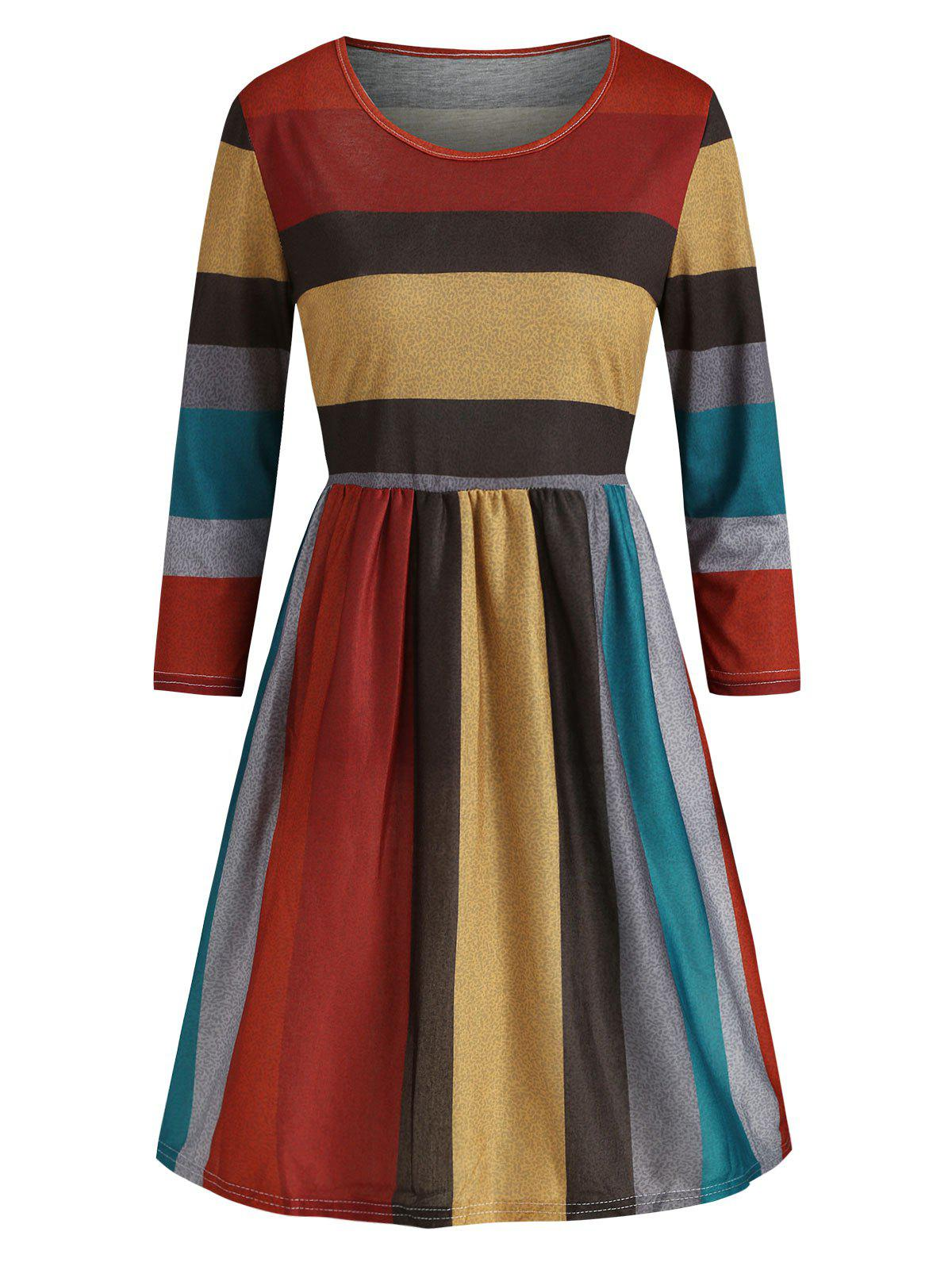 Unique Contrast Striped Round Neck A Line Dress