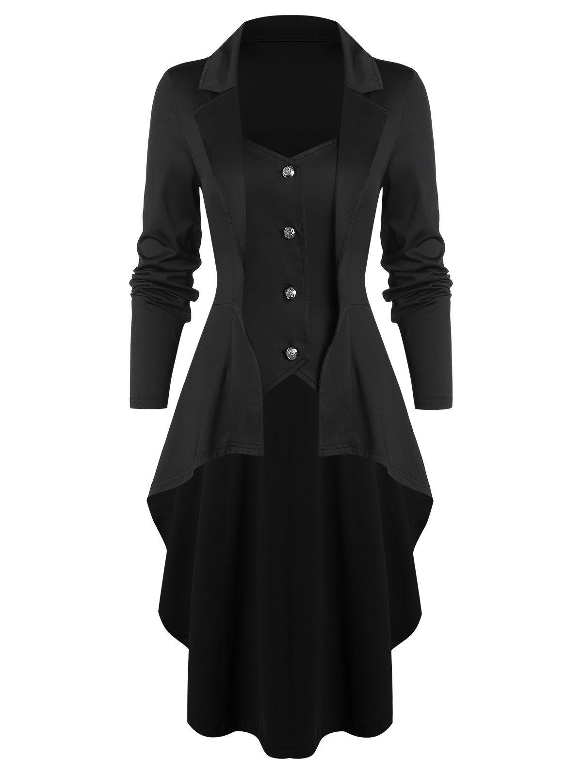 Chic High Low Button Through Skirted Coat