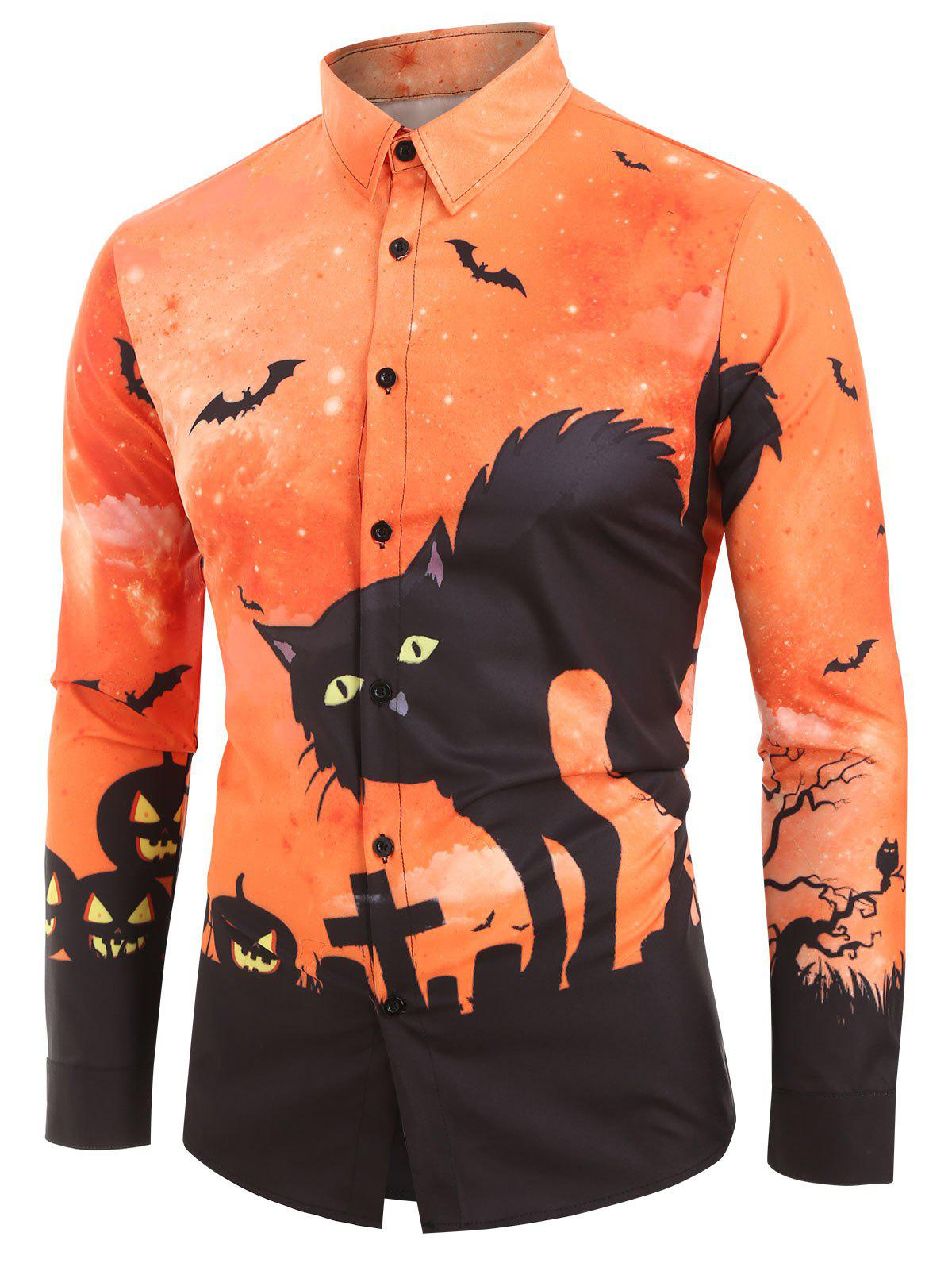 Buy Halloween Cat Bat Print Long Sleeves Shirt