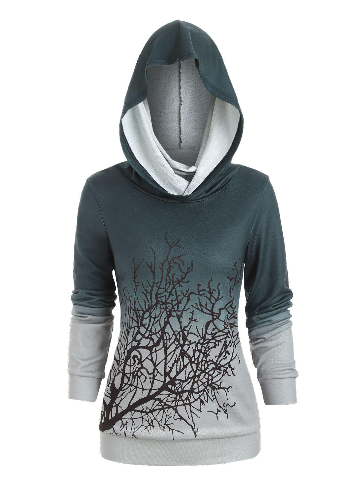 Online Halloween Convertible Collar Tree Print Sweatshirt