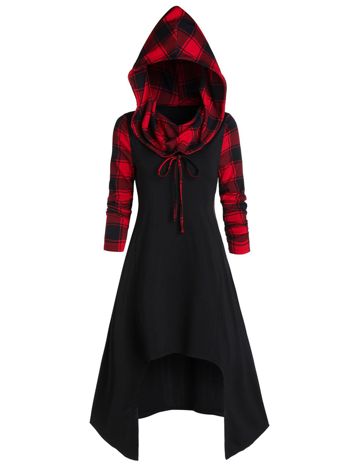 Fashion Convertible Hooded Plaid High Low Midi Dress