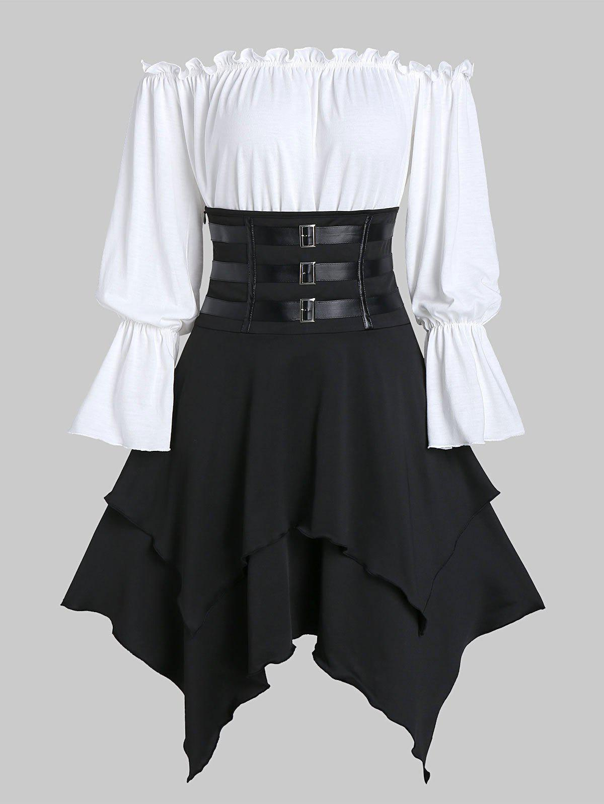 Online Buckle Strap Lace-up Layered Handkerchief Skirt with Poet Sleeve Bardot Top