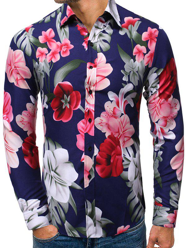 Unique Floral Pattern Casual Long-sleeved Shirt