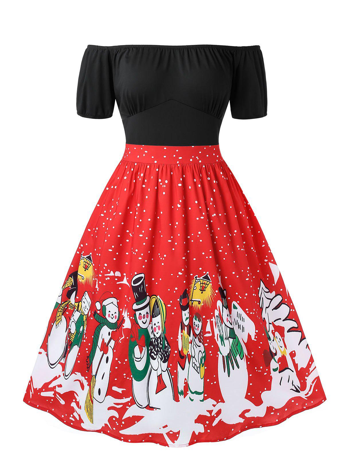 Outfits Plus Size Christmas Retro Off Shoulder Snowman Print Party Dress