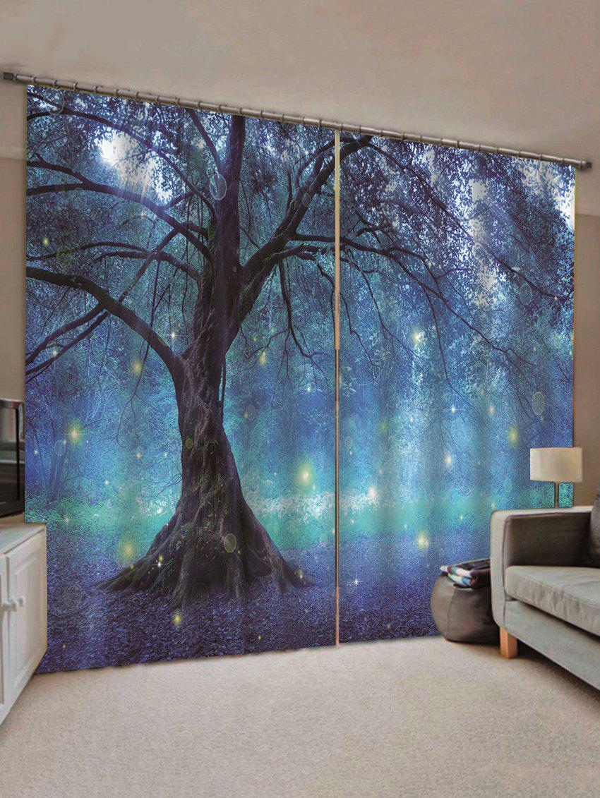 Cheap 2 Panels Print Tree Glowworm Waterproof Window Curtains