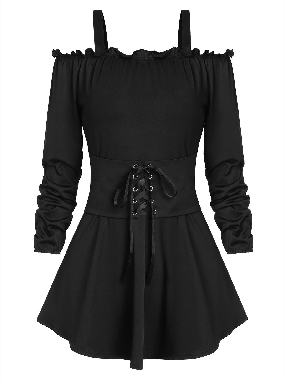Store Lace-up Front Cold Shoulder Ruffle Peplum T-shirt