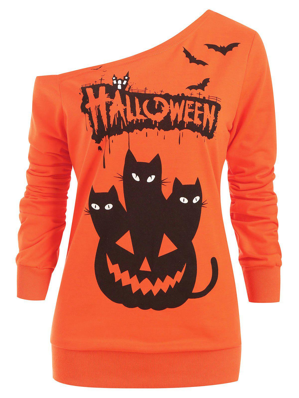 Buy Skew Neck Bat Letter Cats Print Halloween Sweatshirt