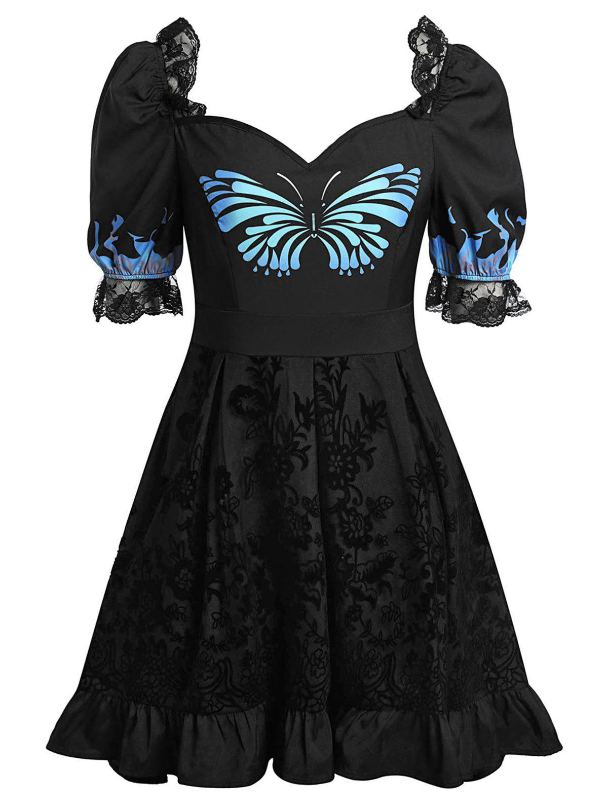 Online Plus Size Butterfly Print Sweetheart Neck Flounce Lace Insert Dress