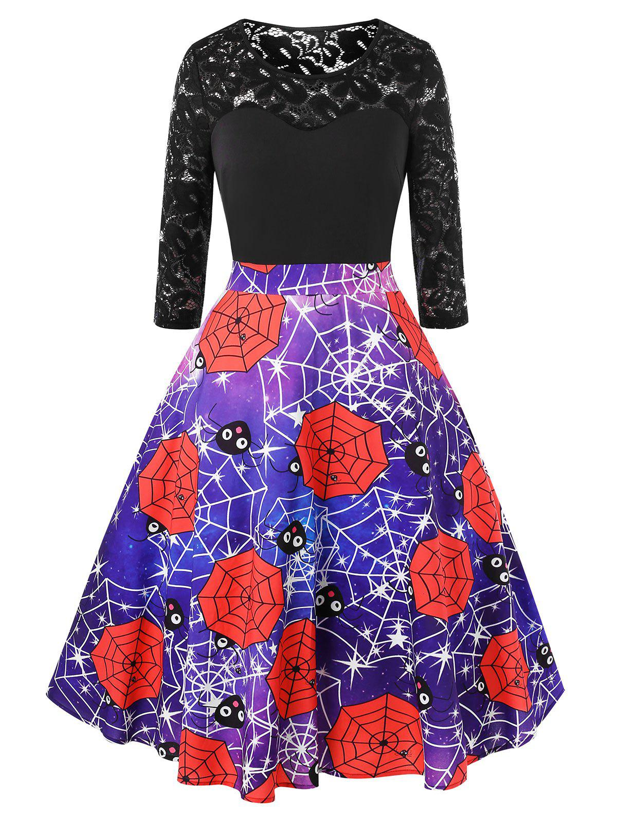 Affordable Plus Size Halloween Galaxy Spider Web Vintage Party Dress