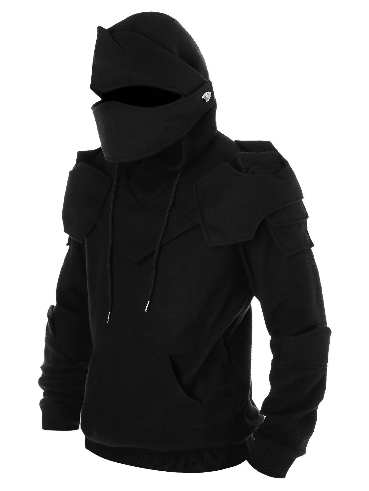 Outfits Drawstring Kangaroo Pocket Soldier Mask Pullover Hoodie