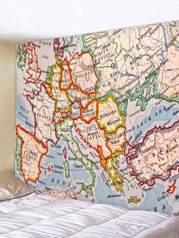 Trendy Europe Map Pattern Wall Hanging Tapestry