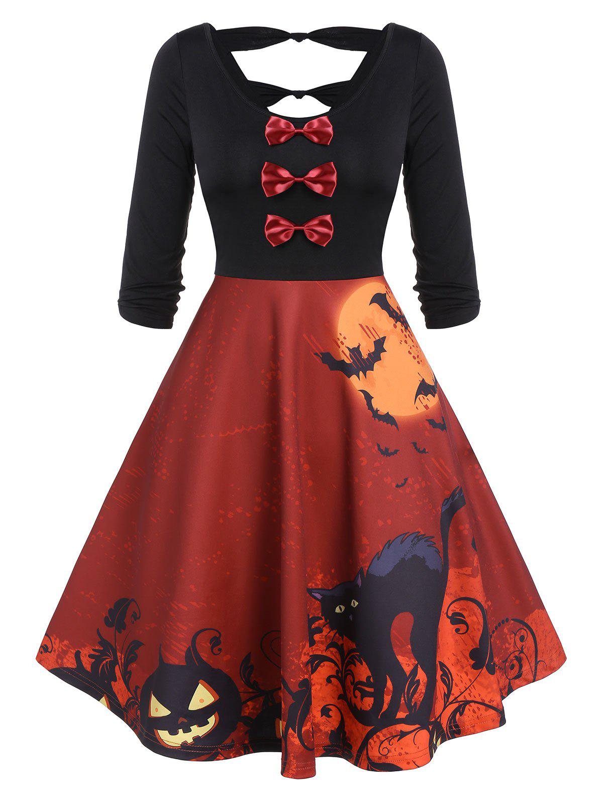 Shops Vintage Bowknot Cut Out Halloween Printed Swing Dress
