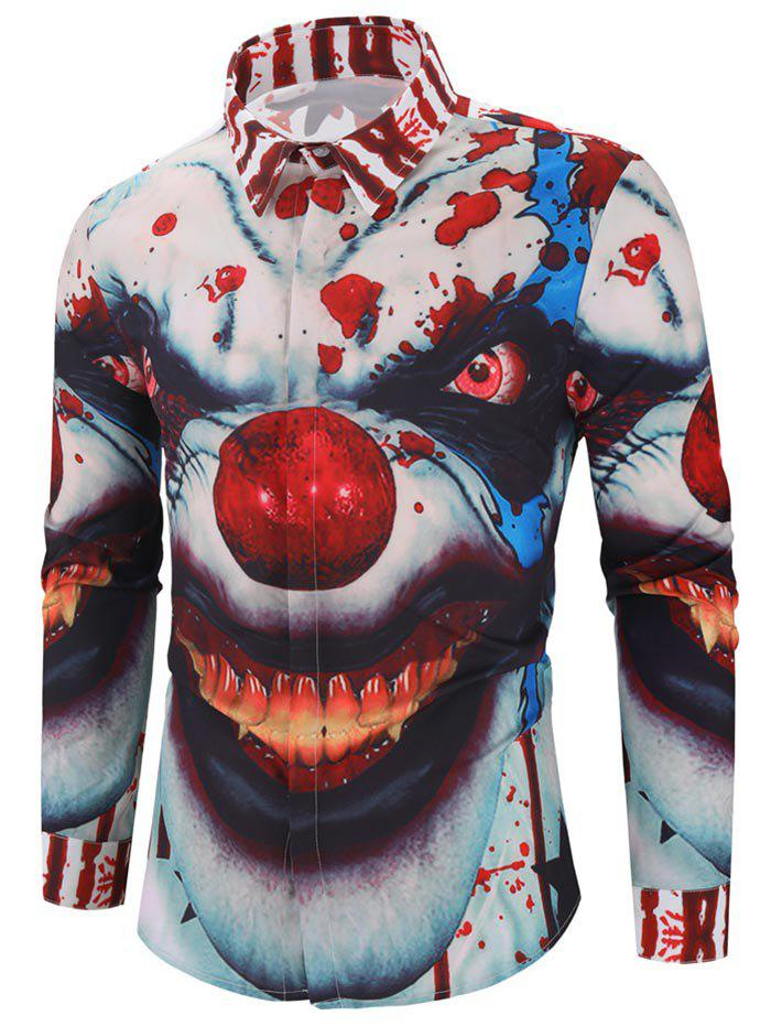 Fancy Halloween Clown Blood Star Print Hidden Button Shirt