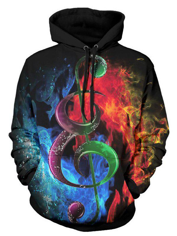 Music Note Water and Fire - Sweat à capuche en kangourou imprimé en 3D Multi M