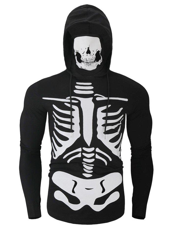 Hot Halloween Skeleton Print Finger Hole Pullover Skull Mask Hoodie