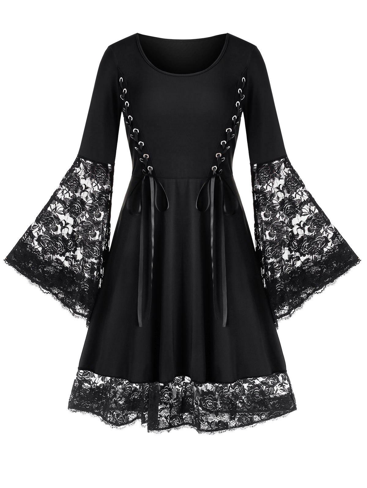 Discount Plus Size Lace Up Flare Sleeve Skater Dress
