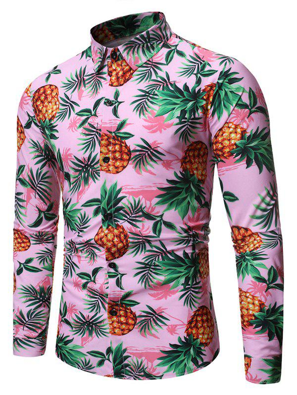 Discount Pineapple Plant Print Long Sleeves Shirt