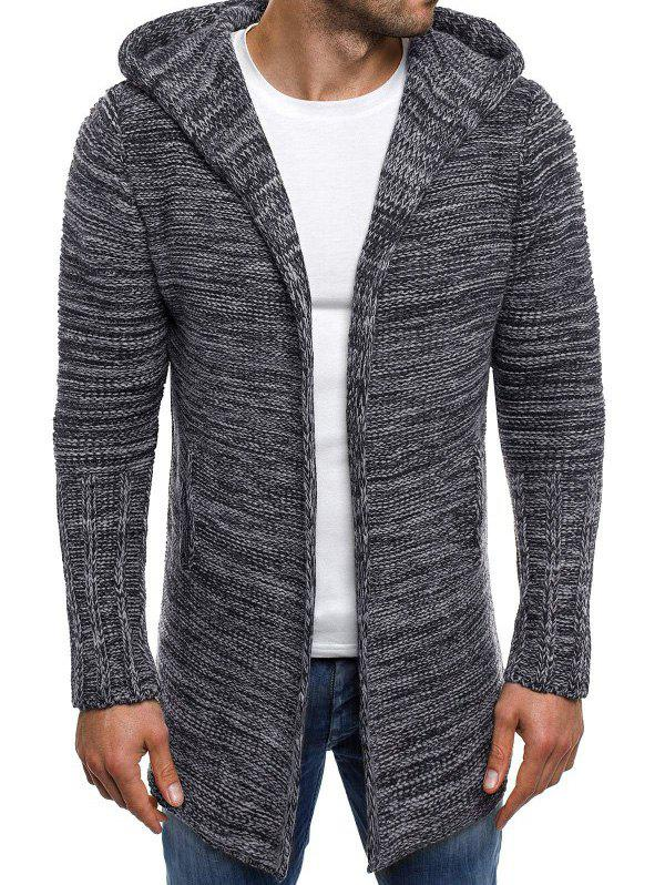 Cheap Open Front Long Hooded Cardigan