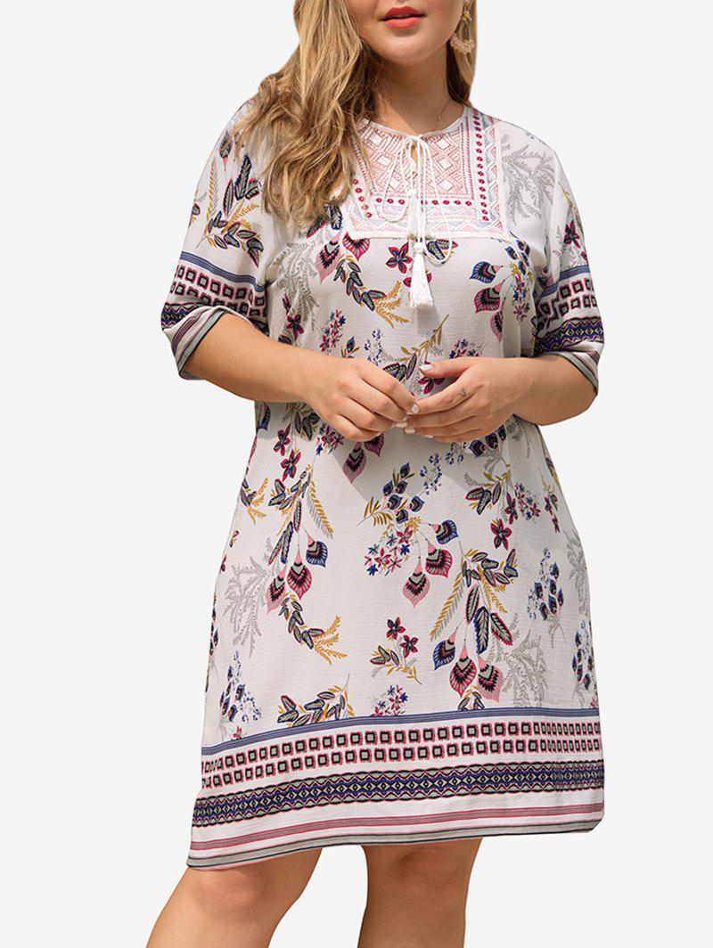 Plus Size Tassels Embroidered Bohemian Floral Dress, Multi-a