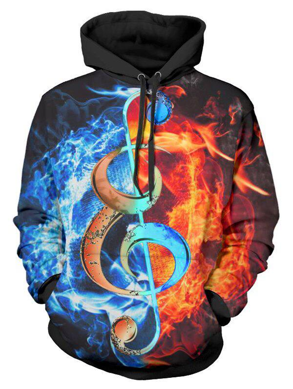 Fancy Music Note Fire 3D Print Drawstring Hoodie