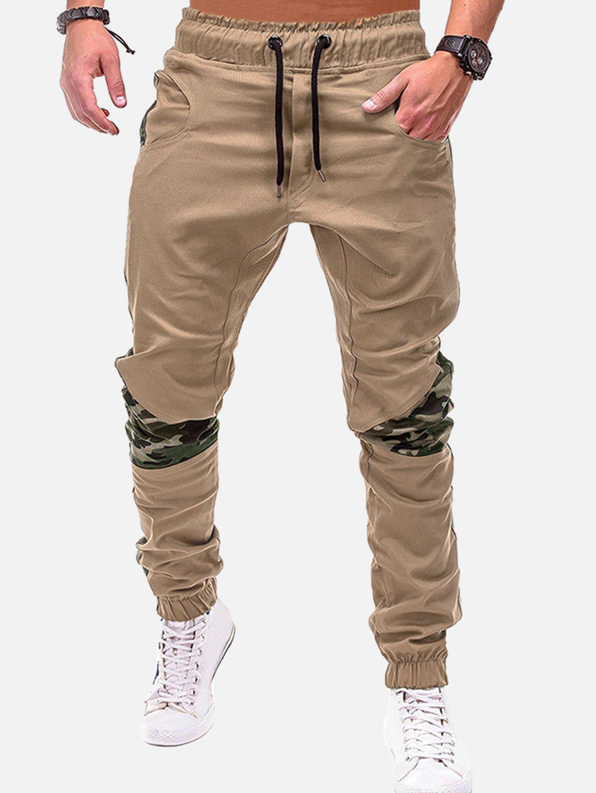 Buy Camouflage Print Spliced Drawstring Jogger Pants
