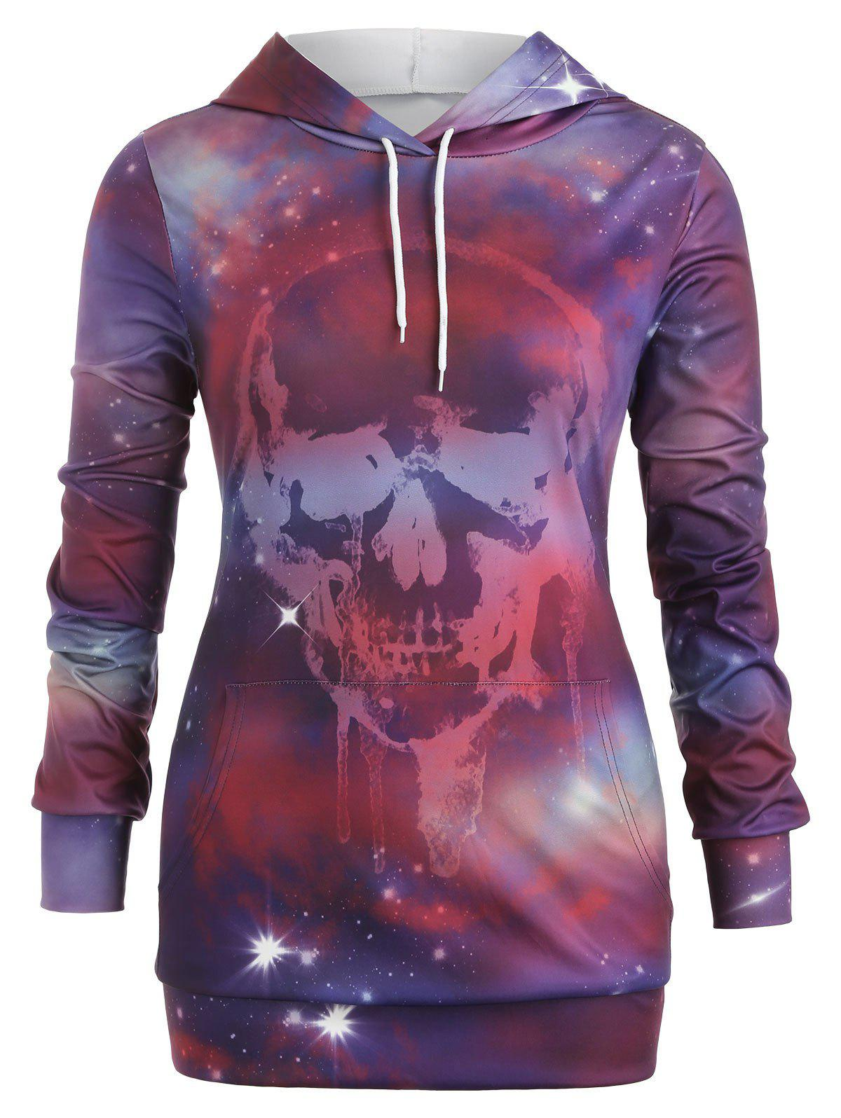 Discount Plus Size Skull Galaxy Print Halloween Tunic Hoodie