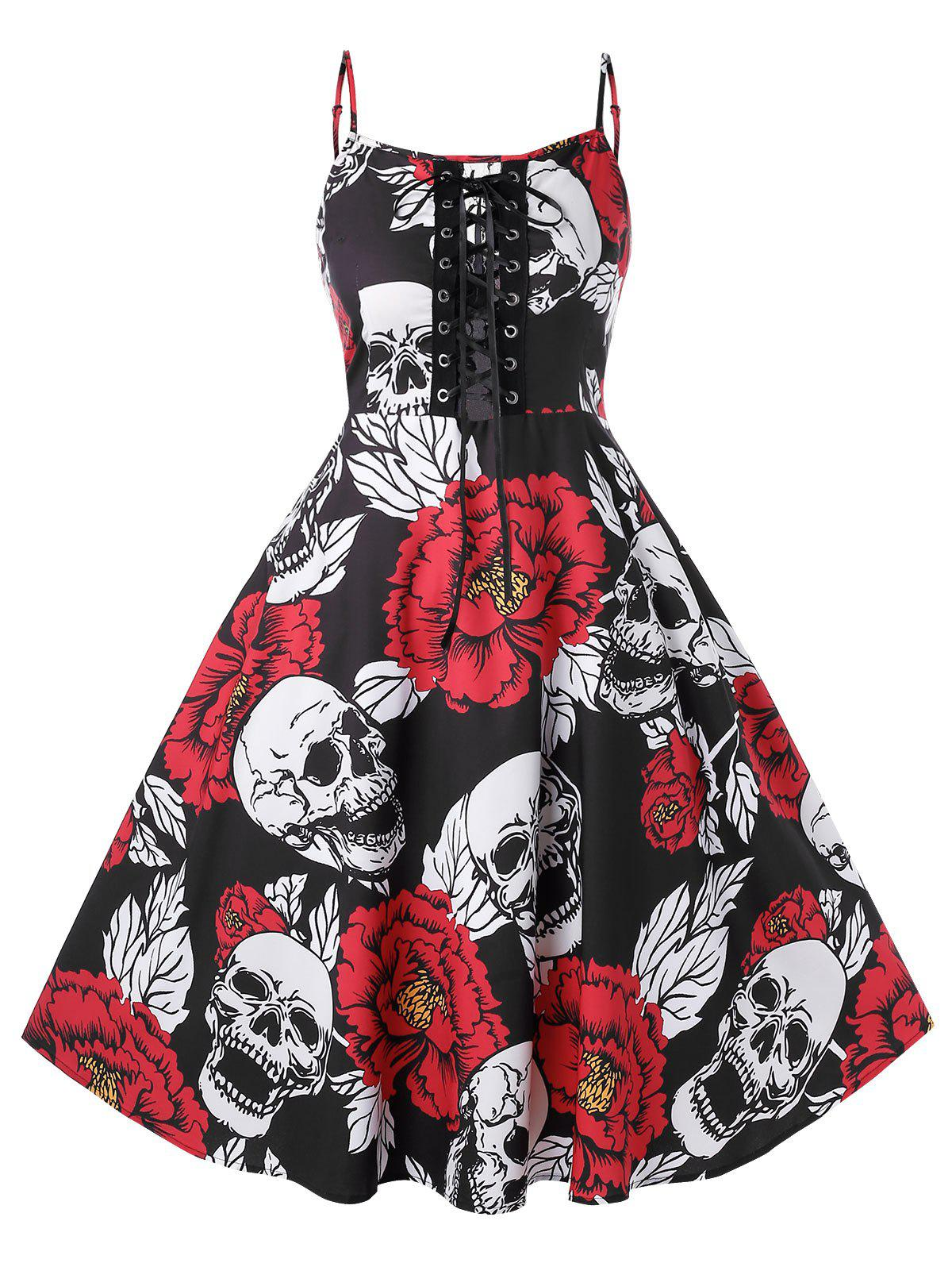 Chic Plus Size Halloween Vintage Lace Up Skull Floral Print Party Dress