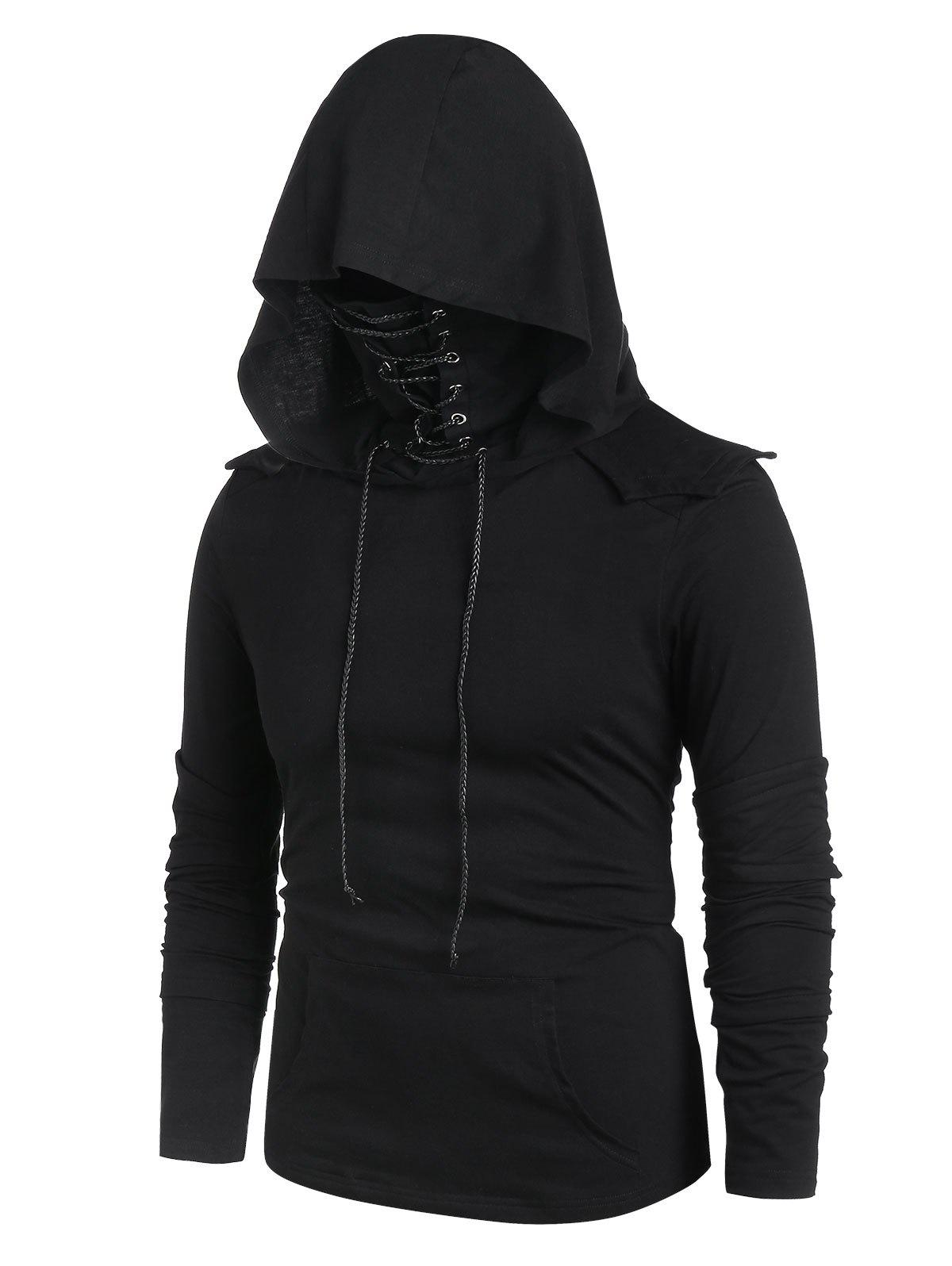 Sale Kangaroo Pocket Lace-up Mask Pullover Hoodie