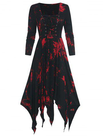 Tie Dye Print Long Sleeve Lace-up Handkerchief Dress