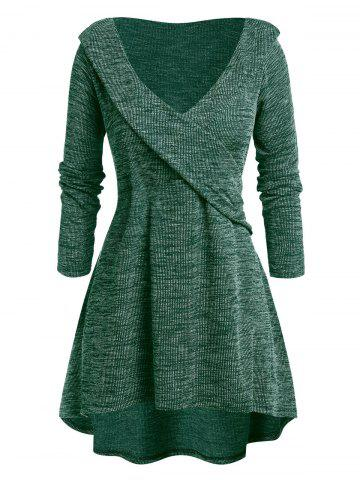 Plus Size Space Dye Plunge High Low Sweater - DARK FOREST GREEN - 3X