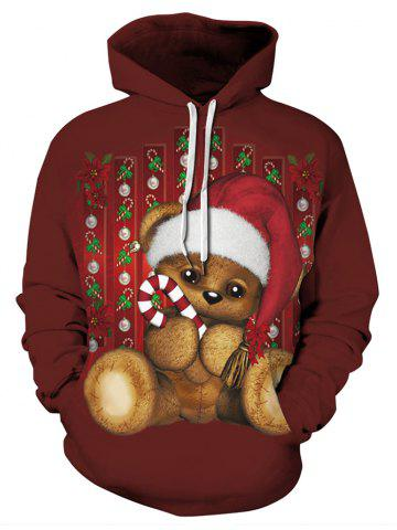 Plus Size Cartoon Christmas Bear Print Kangaroo Pocket Hoodie