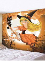 Halloween Printing Witch Wall Tapestry -