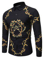 Luxury Print Button Up Long-sleeved Shirt -