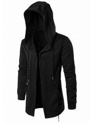 Solid Color Long Gothic Open Front Hoodie -