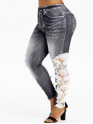 High Waisted Lace Panel Printed Plus Size Jeggings -