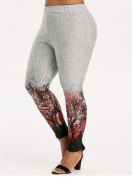 Plus Size Halloween Tree Print Knitted Leggings -