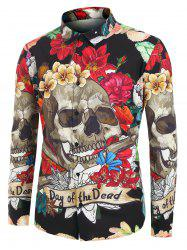 Plus Size Halloween Floral Skull Print Shirt -