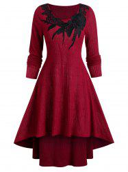 Round Collar Applique High Low Sweater Dress -