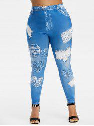 Plus Size 3D Destroyed Print Skinny Jeggings -