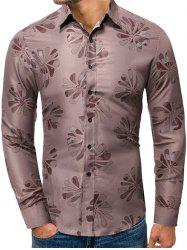 Floral Pattern Button Up Long-sleeved Shirt -