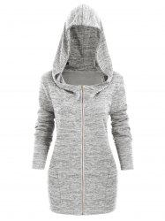 Plus Size Hooded Zip Front Space Dye Cardigan -