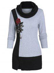 Colorblock Cowl Collar Long Sleeve Sweater -