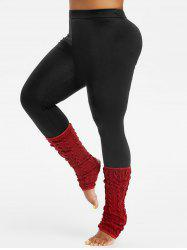 Plus Size High Rise Tight Leggings With Cable Knit Socks -