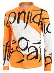 Plus Size Letter Print Two Tone Graphic Shirt -