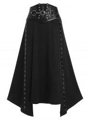 Faux Leather Buckle Strap Rivet Embellished Lace-up Asymmetric Gothic Skirt -