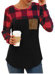 Plaid Chest Pocket Curved Long Sleeve Tee -