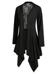 Handkerchief Lace Panel Open Front Plus Size Cardigan -