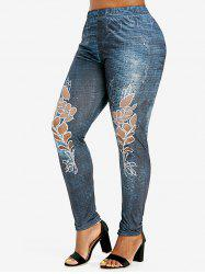 Plus Size Leaves Print Skinny 3D Jeggings -