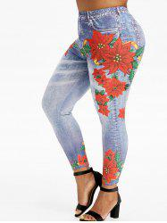 Plus Size High Rise Floral Ninth 3D Jeggings -