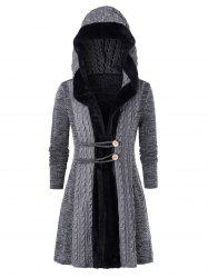 Plus Size Faux Fur Hooded Cable Knit Cardigan -